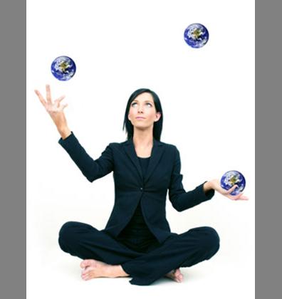 Woman juggling the world
