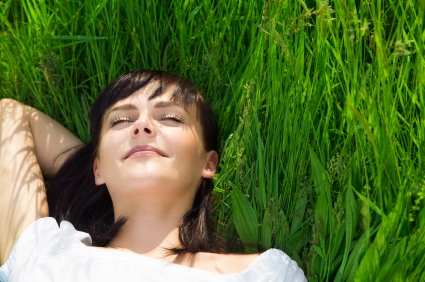 Woman resting in the grass